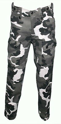 KIDS CAMO PANTS urbancam pants GREY CAMOUFLAGE 6 - 14 childrens army trousers