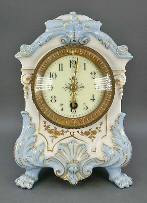 Fine Antique French Sevres Porcelain Gold Blue Small Footed Table Mantle Clock