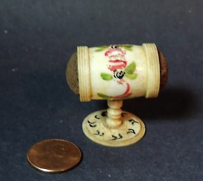 rare Antique vtg 1800s Victorian Sewing Tool Carved Painted Double PIN CUSHION