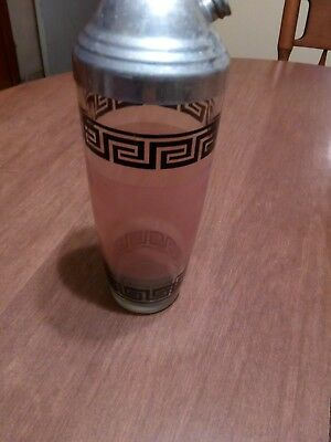 Vintage  Unusual Pink lines clear Glass Cocktail Drink Shaker w Top Cover