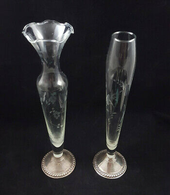 Pair (2) Vintage Duchin Creation Sterling Silver Weighted Etched Glass Bud Vases