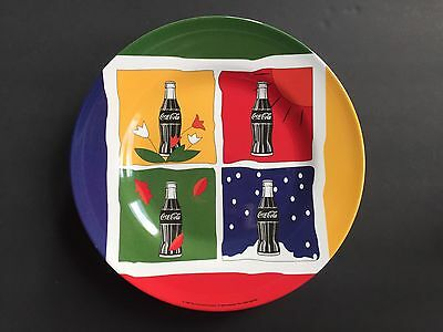 "Set of 4 Coca Cola Four Seasons 10"" Dinner Plates Collectible Melamine 1998"