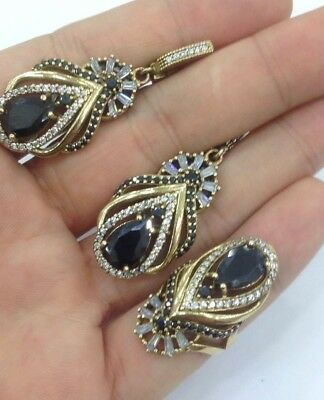 925 Silver Handmade Jewelry Ladie's  Black Onyx Stone Earring & Ring Set