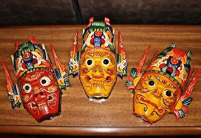 3 Chinese Folk Art Wood Hand Carved Painted NUO MASKS Crown Tongue Out 14x11