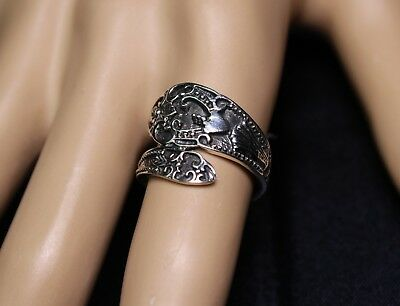 Sterling Silver Vintage Spoon Ring Ornate and Fancy Victorian Style Piece