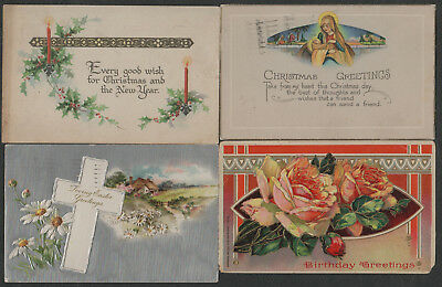 e1380)       4 x  EARLY GREETING  POSTCARDS FROM THE UNITED STATES OF AMERICA