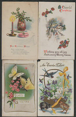 e1382)       4 x  EARLY GREETING  POSTCARDS FROM THE UNITED STATES OF AMERICA