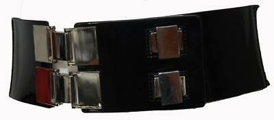 CUE Black Genuine Patent Leather Style P1419 Wide Stretch Women's Belt Size Med