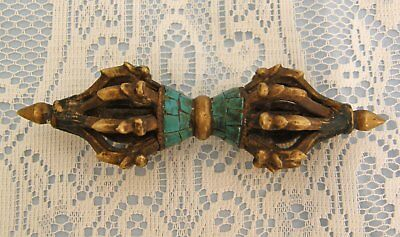 18-19 Th C Tibetan Bronze And Turquoise Buddhist Vajra