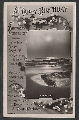 """e1324)    GREETINGS POSTCARD FROM 1909:  """" A HAPPY BIRTHDAY """""""