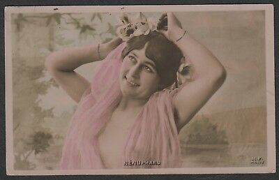 e1378)       1907 FRENCH GREETINGS POSTCARD:  NENUPHARS  WATER-LILY LADY