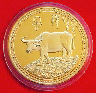 Stunning Chinese Lunar Zodiac Colored 24K Gold Coin - Year of the Cow