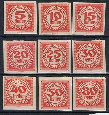 Austria 1920 Postage Dues to 80h Imperf SG D384-92 Mint MH