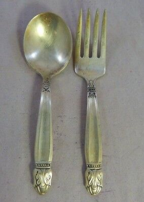 Antique DANISH PRINCESS Set 2 Baby Fork & Spoon Holmes & Edwards1938 Silverplate
