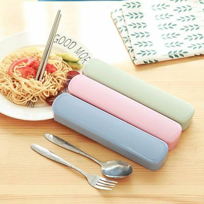Chopstick Spoon Fork Set Dinnerware Travel Outdoor Picnic With Wheat Straw Boxes