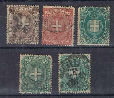 Italy 1889 1891 1c - 5c Arms of Savoy SG 53-56 with SMW perfin Used