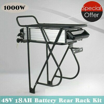 US 48V 14Ah 1000W LED Rear Rack Carrier E-bike Electric Bicycle Li-ion Battery