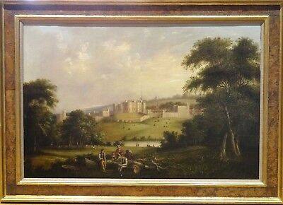 Huge 18th Century English Alnwick Castle River Aln Landscape Antiquel Painting