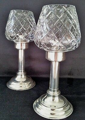 Vintage Gainsborough Silver Plated Candle Holders &crystal Shades.