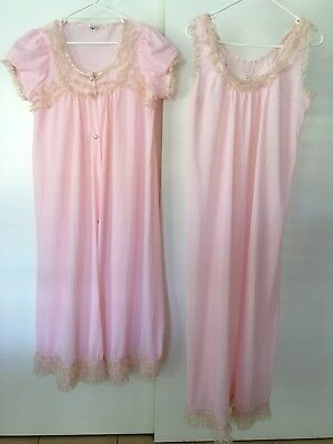 Vintage MISS GLORIA - Bri-Nylon Pink- Matching  Nightie & Dressing Gown Sz 16