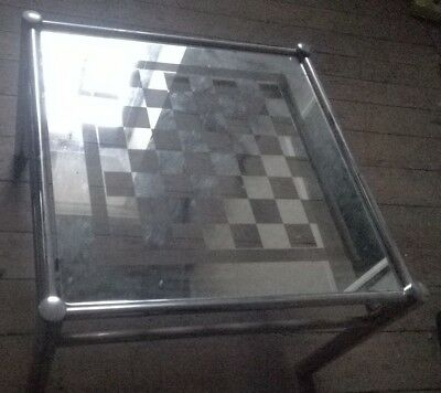 Vintage Retro 1970s 80s  Chrome and Glass Top Chess Board Table