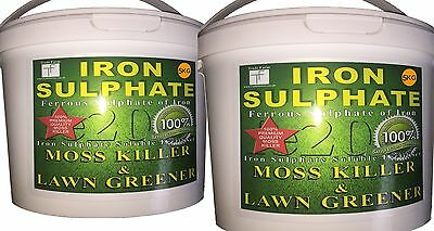 10KG Iron Sulphate Moss Killer, Lawn Feed, Conditioner covers 2000-10,000 Sq mtr