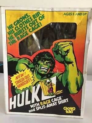 """1978 Marvel 12"""" INCREDIBLE HULK Rage Cage Rubber Figure with Cage"""