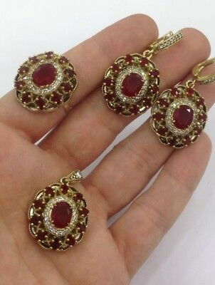 Handmade Sterling 925 Silver Jewelry Madagascar Ruby Stone Ladies Full Set.
