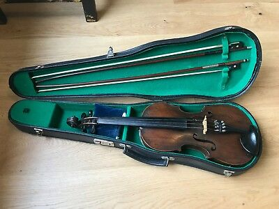 Antique Violin and two bows with hard case for light restoration