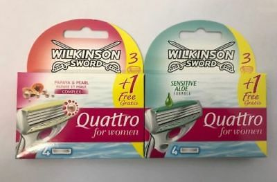 Wilkinson Sword Quattro For Women Razor Blades 4,8,or 12 Blades Papaya or Aloe