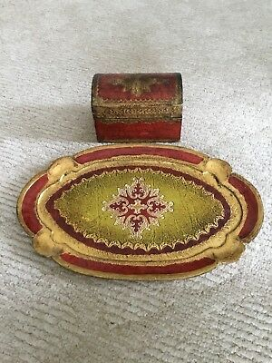 """Vintage Italian Oval Wood Platter Wall Plaque Florentine Gold Cranberry 14.5""""x9"""""""