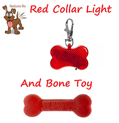 Playful Pets Red Bone Shaped 2 Led Clip On Dog Collar Light & Bone Toy