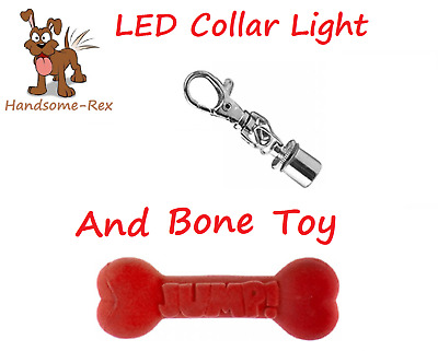 Playful Pets Silver Hi Visability Led Clip On Dog Collar Light & Bone Toy