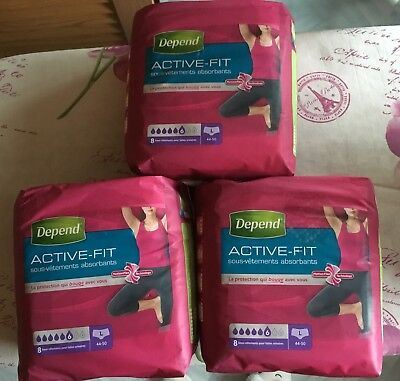 Culottes Absorbantes Depend Incontinence fuites urinaires 3 paquets Taille L