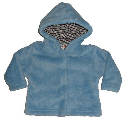 Size 000 - Plum Baby Pale Blue Soft Plush Hooded Jacket for Baby Boy