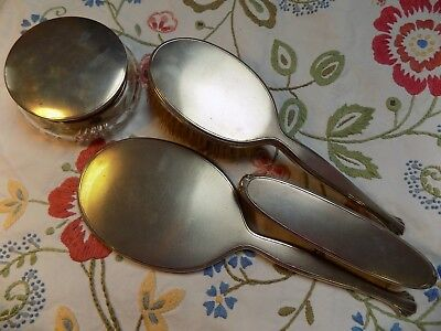 Vintage Hallmarked Silver 4-Pc Dressing Table Set Brushes Mirror & Trinket Pot