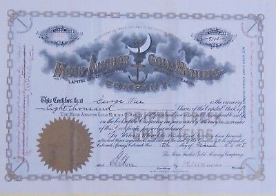 vintage stock certificate Moon Anchor Gold Mining 1908