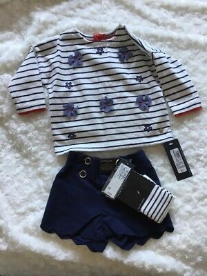 Baby Girls 3 Piece Outfit Set Top Shorts Tights 0-3 M New M&S AUTOGRAPH RRP£19