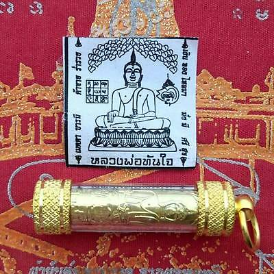 Takrut Lp Tanjai Thai Buddha Amulet Fast Success Lucky Rich Wealth Nice Pendant