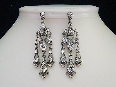 Vintage Style Chandelier Earrings with Clear Crystals Fashionable Earring E2100