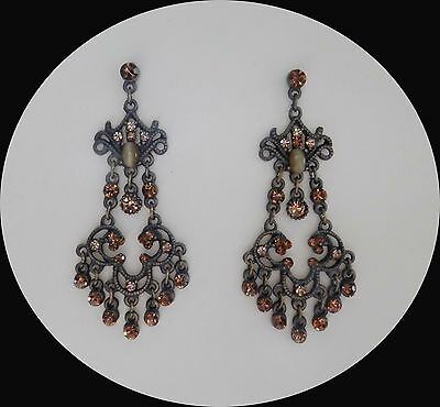Vintage Style Chandelier Earrings with Smoked Topaz Crystals E2268B