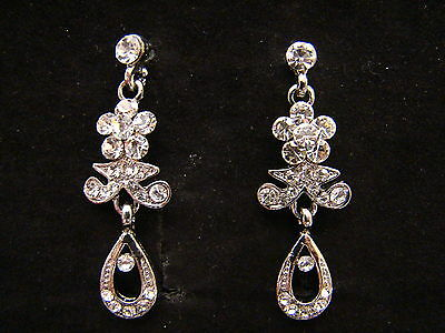 Vintage Style Flower Dangle Earrings Clear Australia Crystals E1167