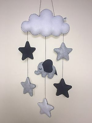 Elephant cloud star baby nursery mobile wall hanging decor shower gift navy grey