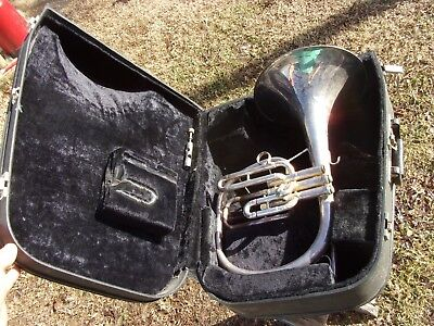 Vtg Holton Silver M601 Mellophone Mellophonium Marching Band French Horn Key F