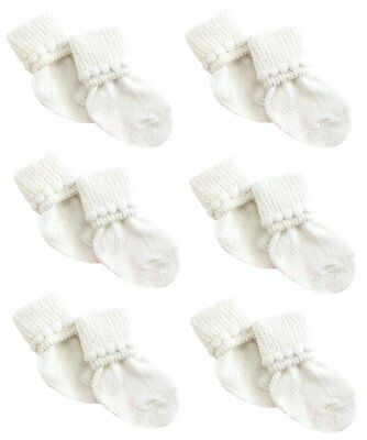 6 Pack of White Cotton Unisex Baby Socks 3-6 Months by Nurses Choice