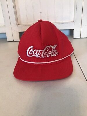 Vtg Coca Cola Snap Back Hat Red White Made In USA