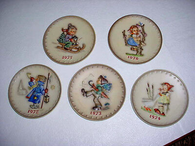 5 Goebel Plates 1972-75 Bought In Germany Mint Condition