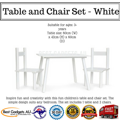 Table and Chair Set Kids Children Dining Outdoor Furniture White Wooden Chairs