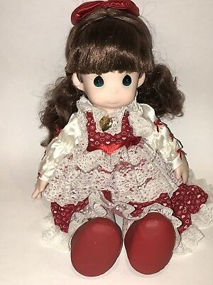 "PRECIOUS MOMENTS 1992 16"" SWEETHEART SERIES RACHEL DOLL Red White Dress EUC 1029"