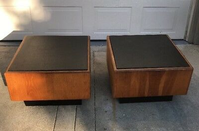 Vtg MCM Mid Century Slate Top Side Tables Attributed To Milo Baughman